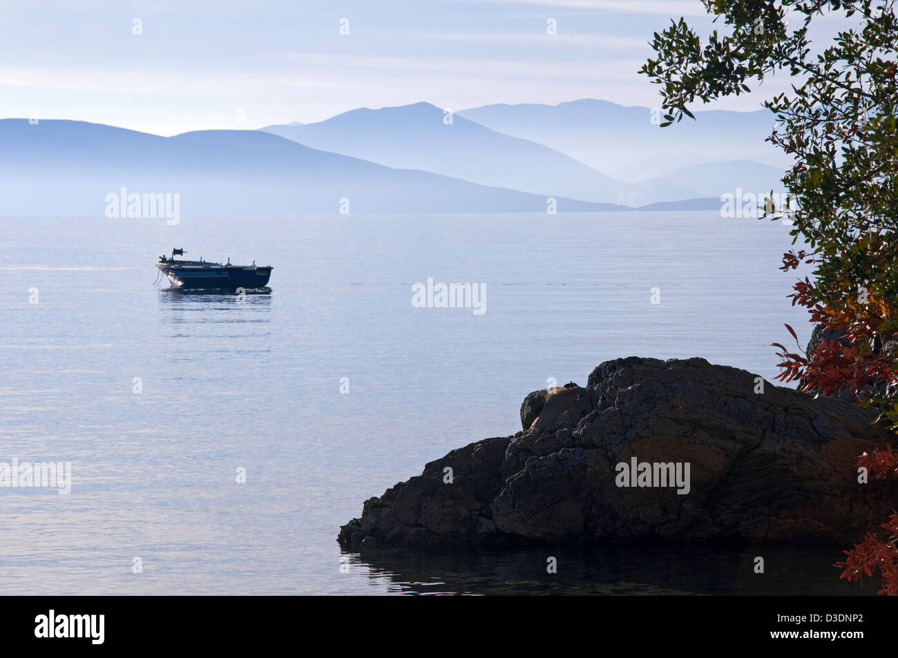 Rowing boat on the Pagasitic Gulf - Stock Image