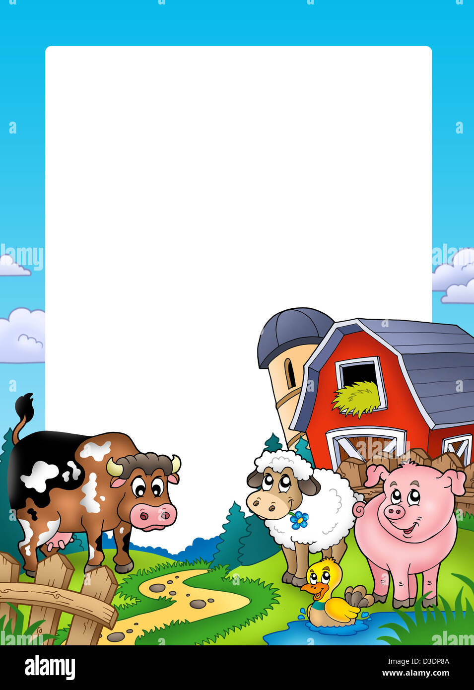Frame with barn and farm animals - color illustration Stock Photo ...