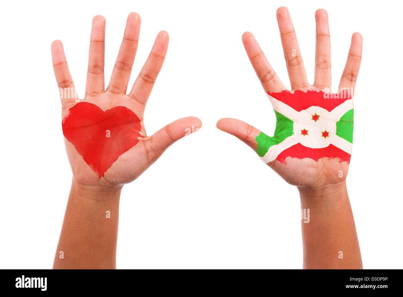 African hands with a painted heart and burundian flag, i love burundi concept, isolated on white background - Stock Image