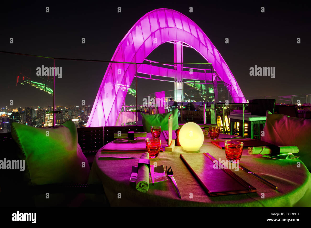 Red Sky Bar, one of the multiple rooftop bars in Bangkok, Thailand - Stock Image