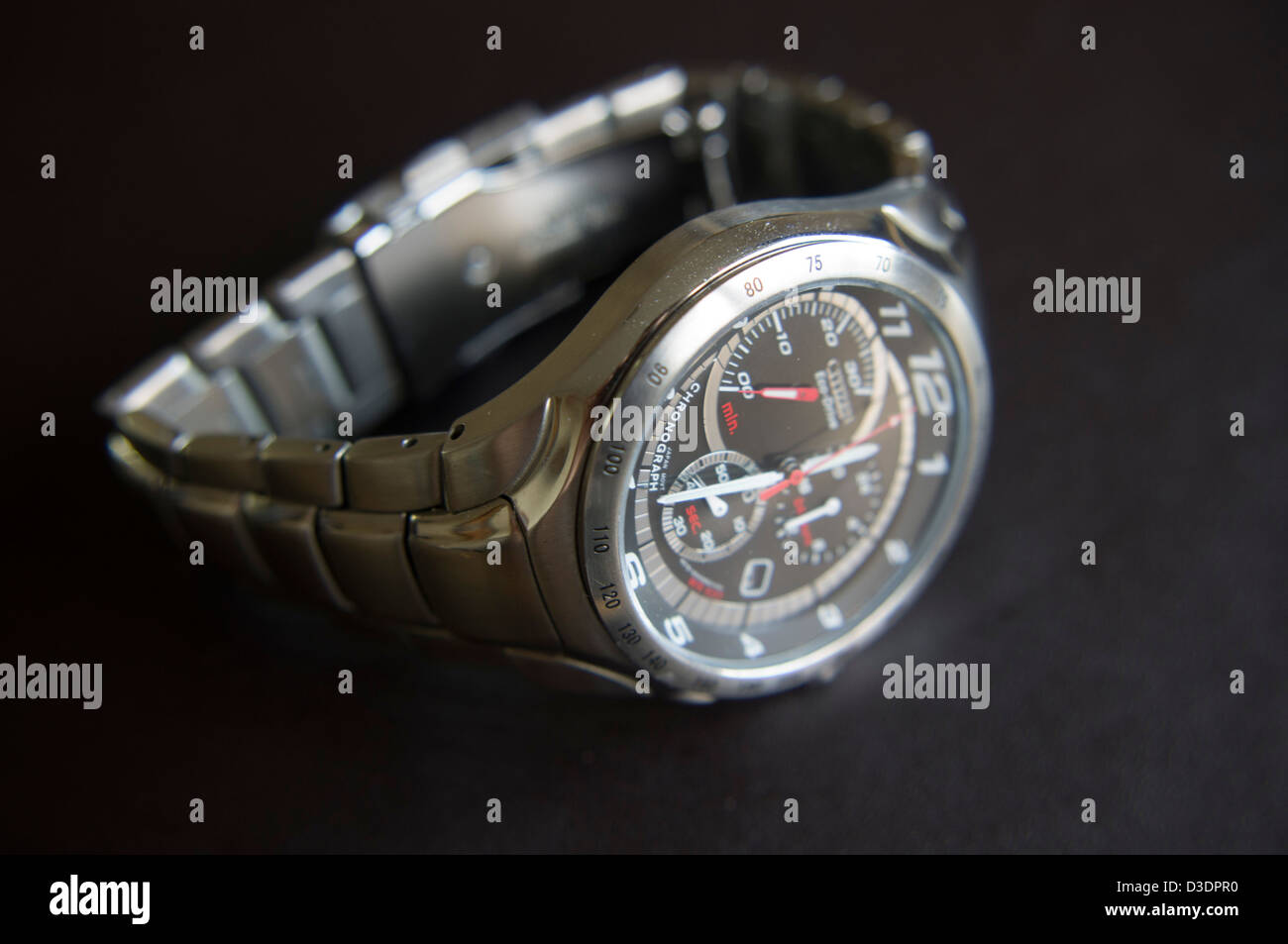 mens stainless steel chronograph watch - Stock Image