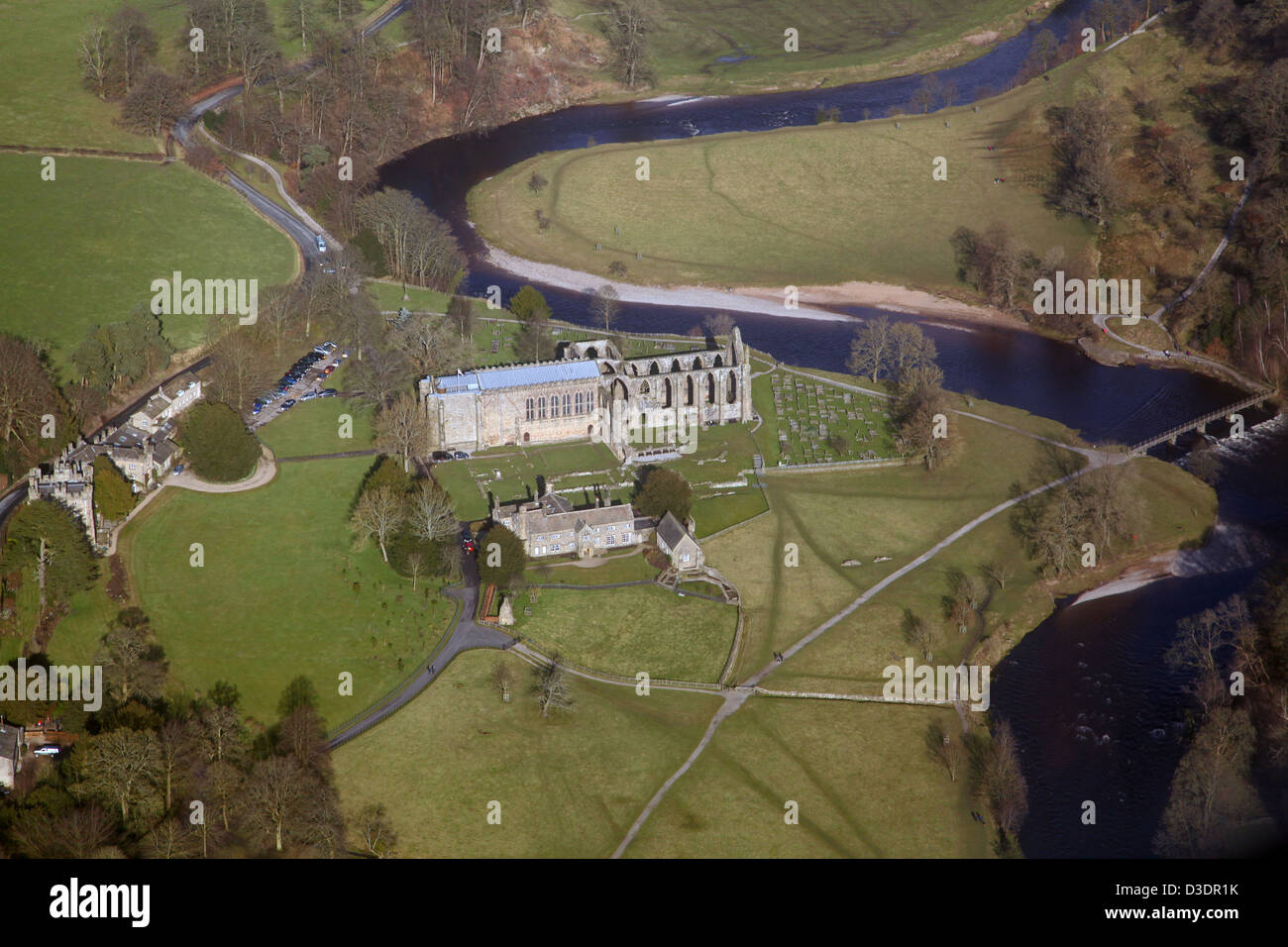 aerial view of Bolton Priory within the Bolton Abbey estate in North Yorkshire - Stock Image