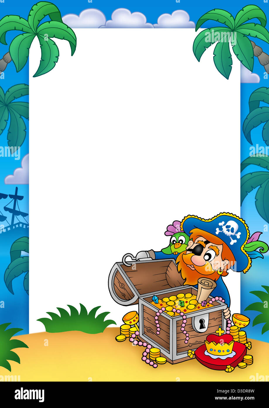 Frame with pirate and treasure - color illustration Stock Photo ...