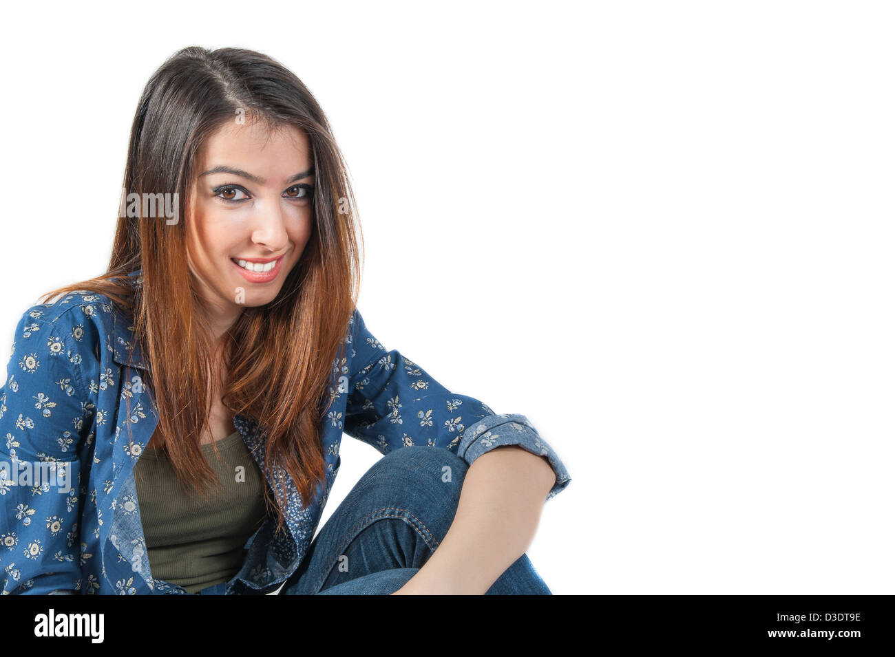 girl looking inviting Isolated on white background - Stock Image