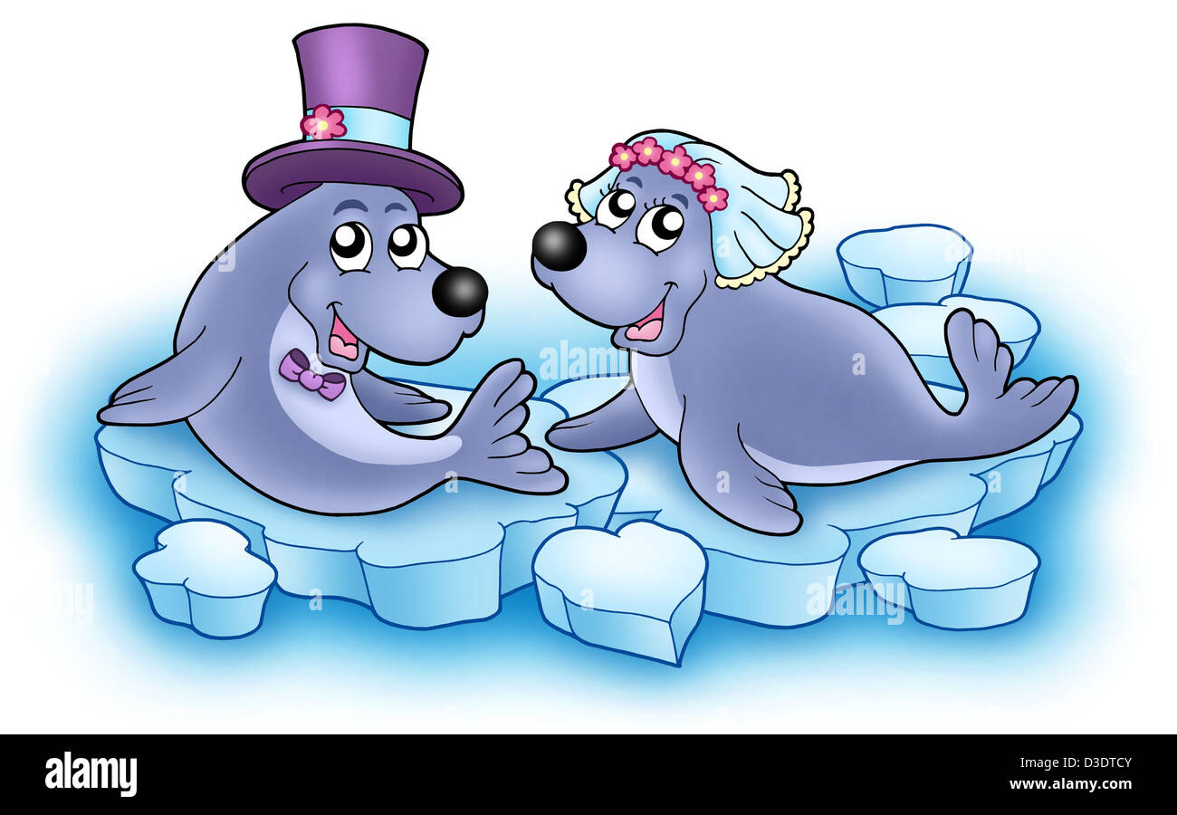Wedding image with cute seals - color illustration. - Stock Image