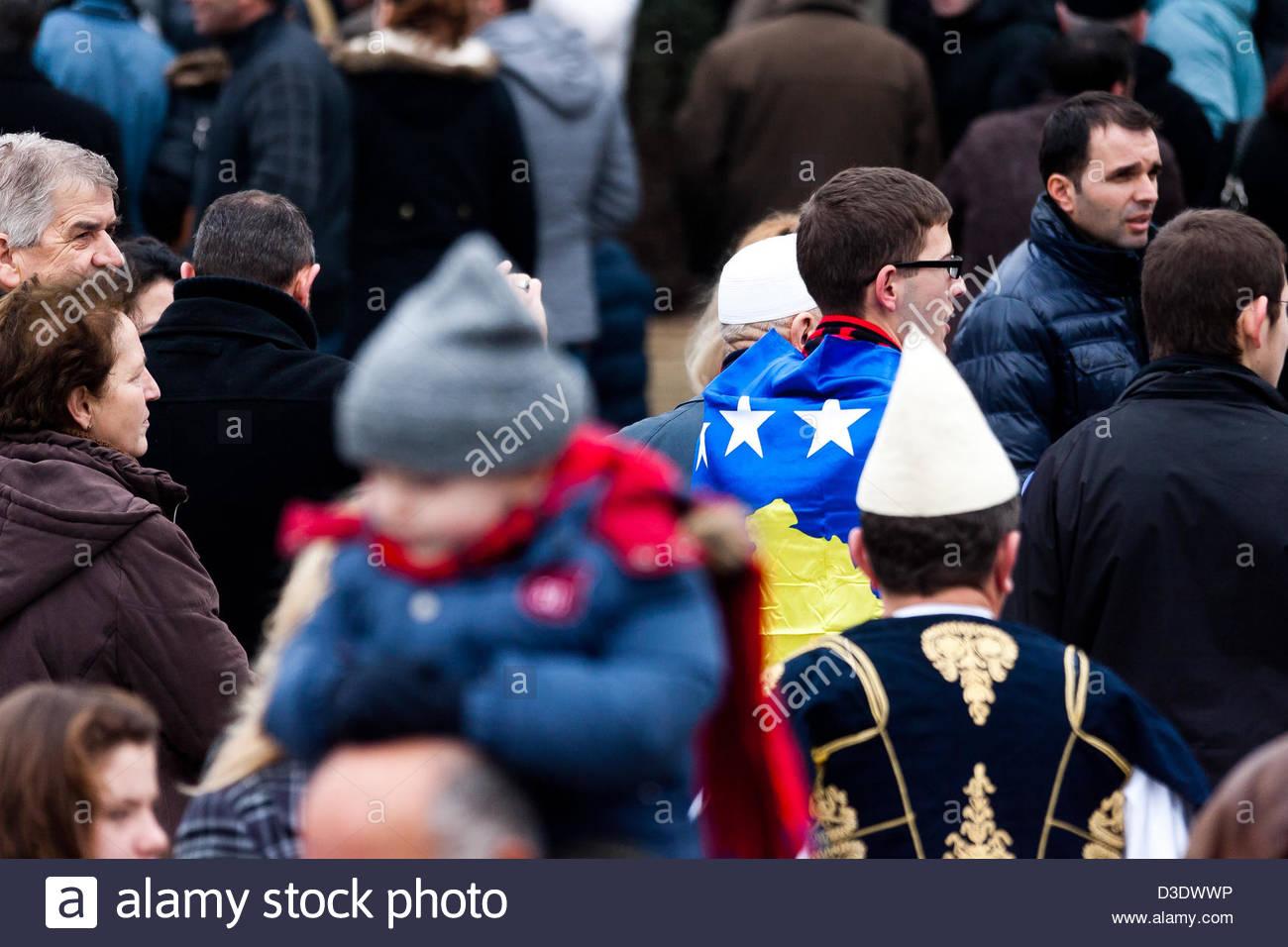 Feb. 17, 2013 - Pristina, Kosovo - Kosovo Albanians attend celebrations marking the fifth anniversary of Kosovo's - Stock Image