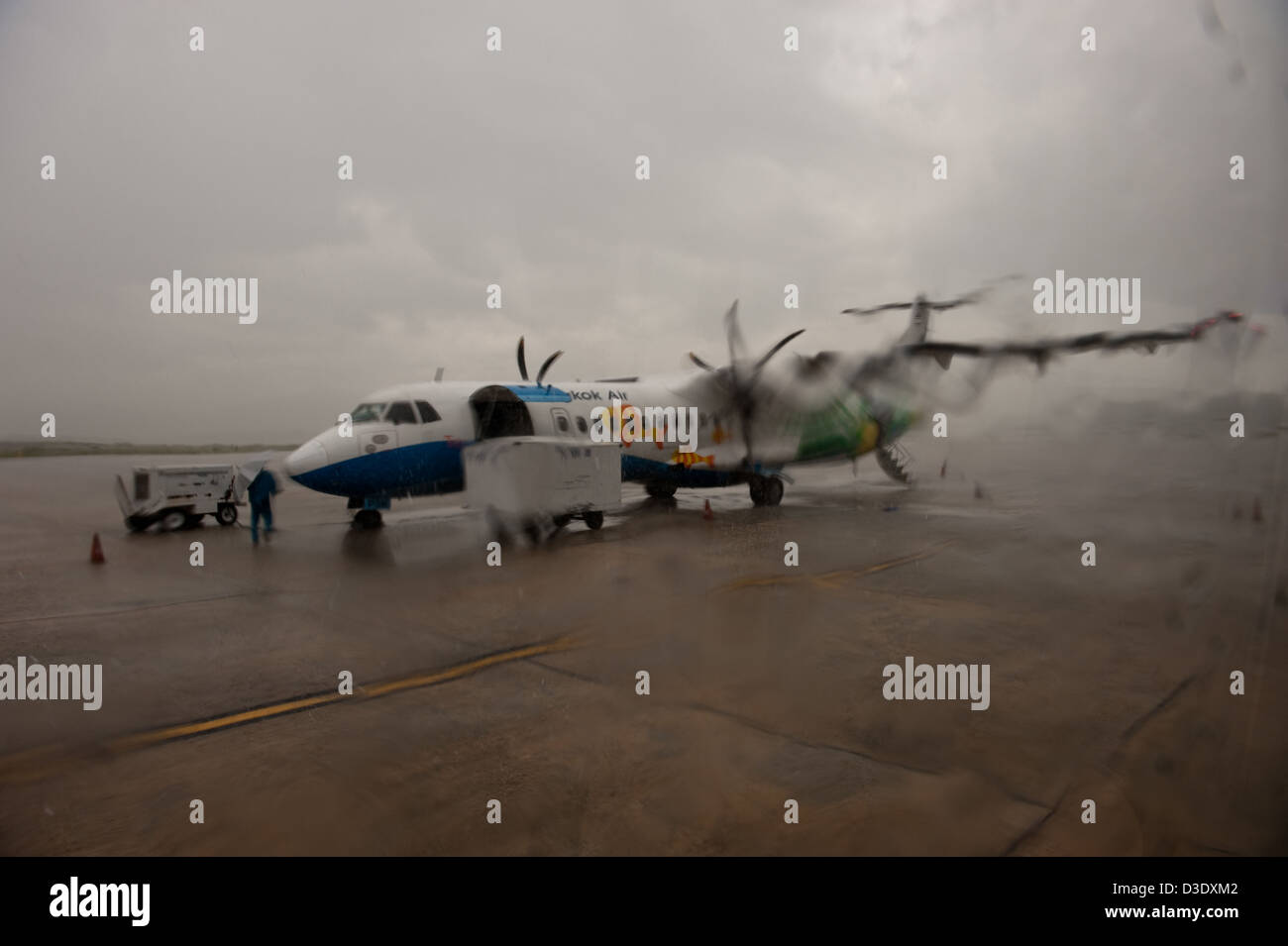 Krabi, Thailand, Krabi at Heathrow Airports terminals of monsoon rains - Stock Image