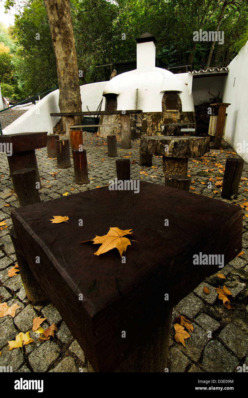 View of an traditional outdoor eating place in autumn. - Stock Image