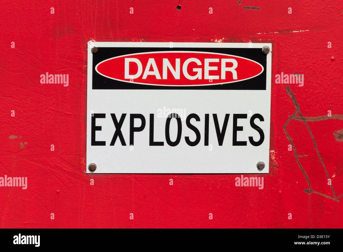 signs labels label danger explosives red - Stock Image
