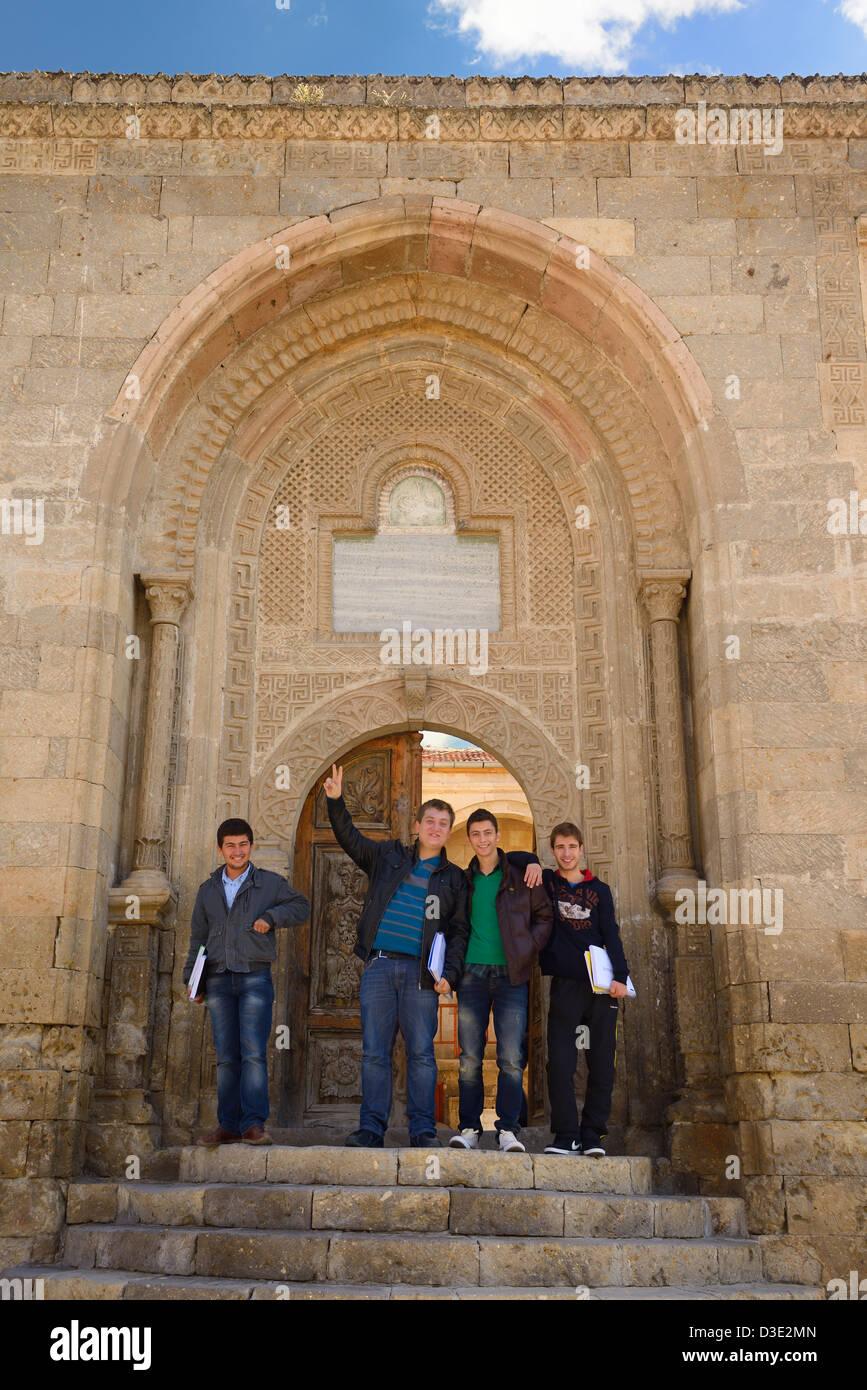 Students in the doorway of the Cappadocia Vocational School in Mustafapasa Turkey - Stock Image