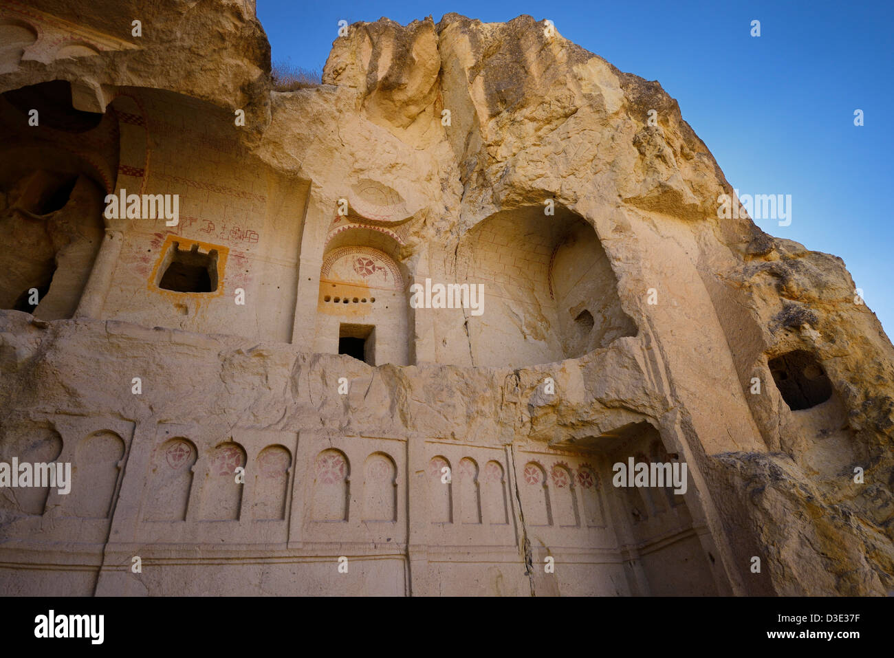Collapsed exterior of the Dark Church cave at the Goreme Valley Open Air Museum Cappadocia Turkey - Stock Image