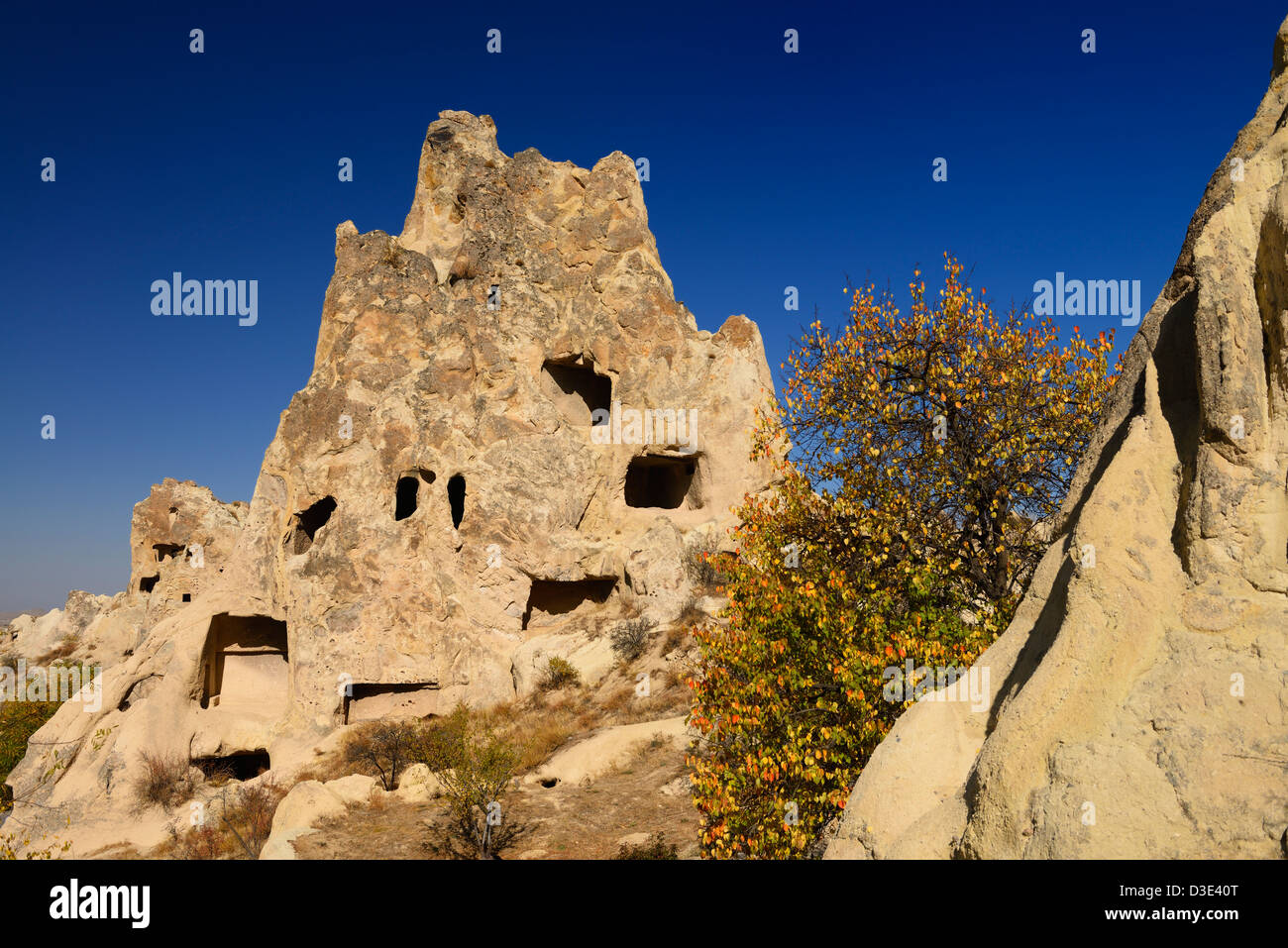 Fall view of Kizlar Manastiri Nunnery Convent Monastery at Goreme Valley Open Air Museum Cappadocia Turkey - Stock Image