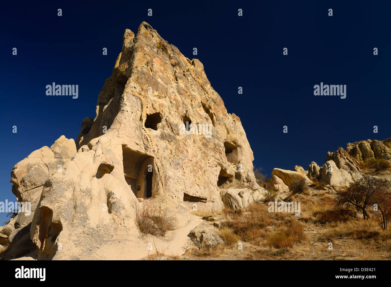 Kizlar Manastiri Nunnery Convent Monastery at Goreme Open Air Museum Cappadocia Turkey with dark blue sky - Stock Image