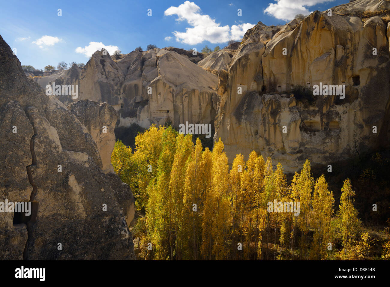 Goreme Valley cave dwelling pigeon houses at Open Air Museum Cappadocia Turkey in the Fall - Stock Image
