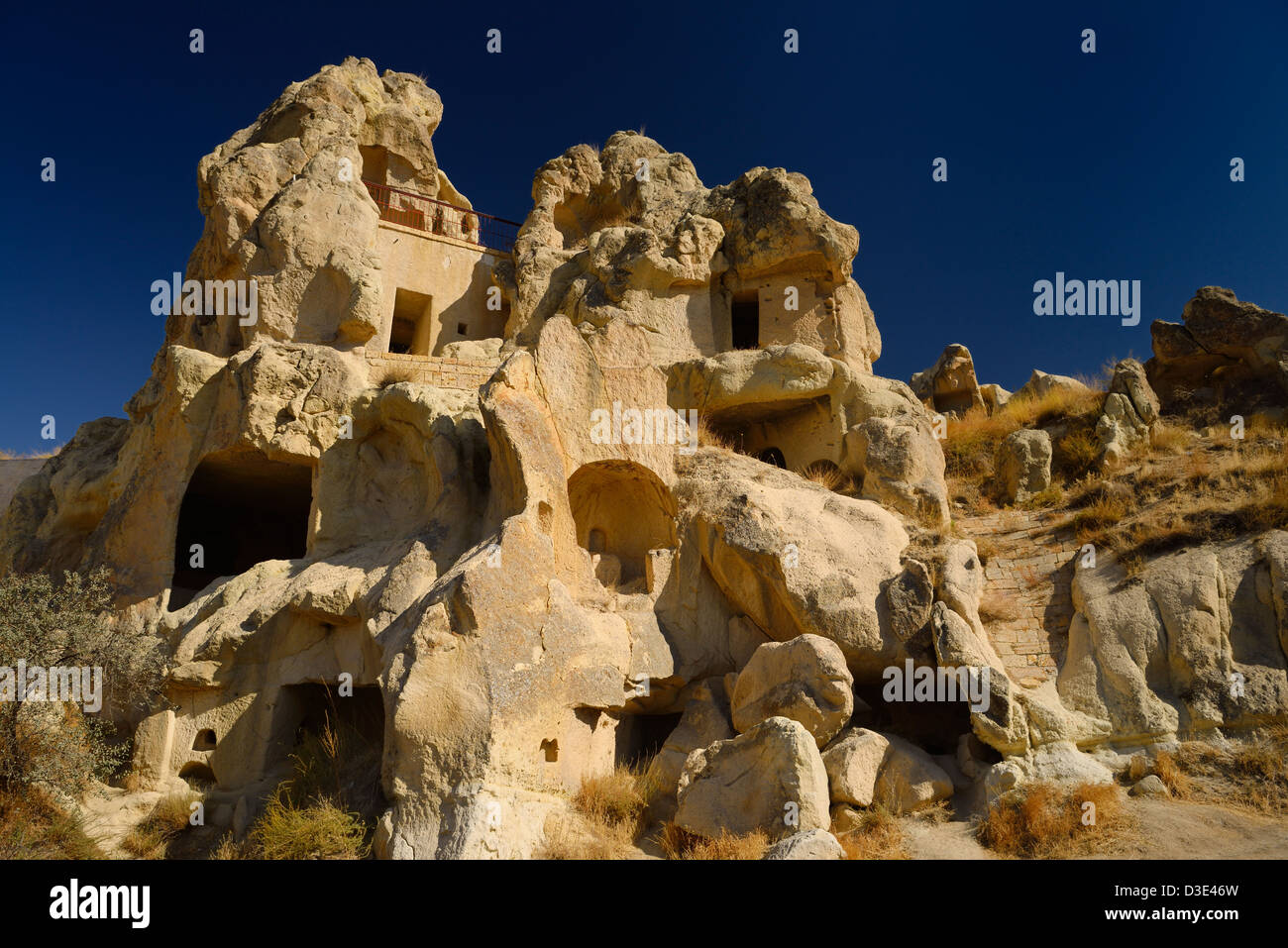 Cave monastery at Goreme Valley Open Air Museum Cappadocia Turkey - Stock Image
