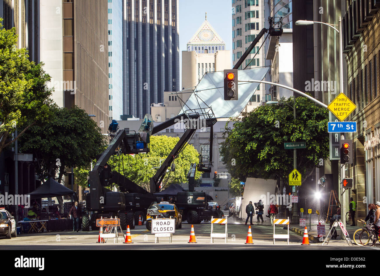 A television commercial filming on location in the downtown area of Los Angeles. - Stock Image