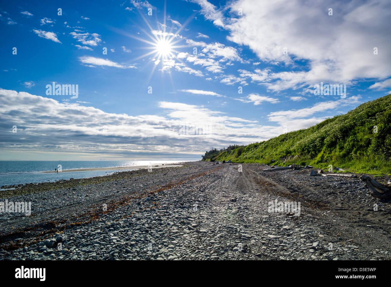 Sunburst, Bishop Beach, Homer, Alaska, USA - Stock Image