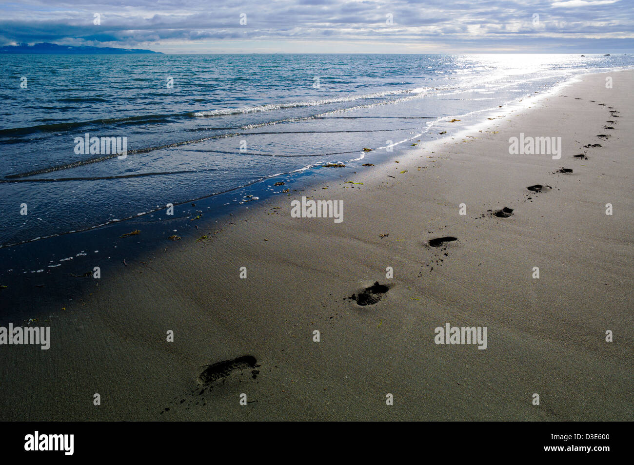 Human footprints along Bishop Beach, Homer, Alaska, USA - Stock Image