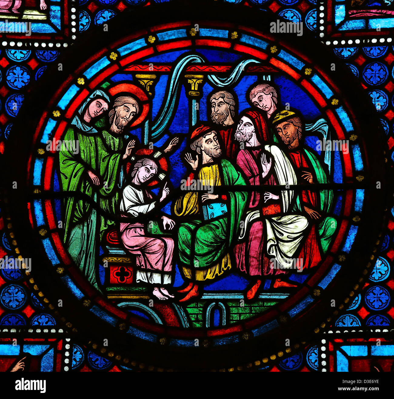 Stained glass window depicting The Finding in the Temple, also called 'Christ among the Doctors', an episode - Stock Image