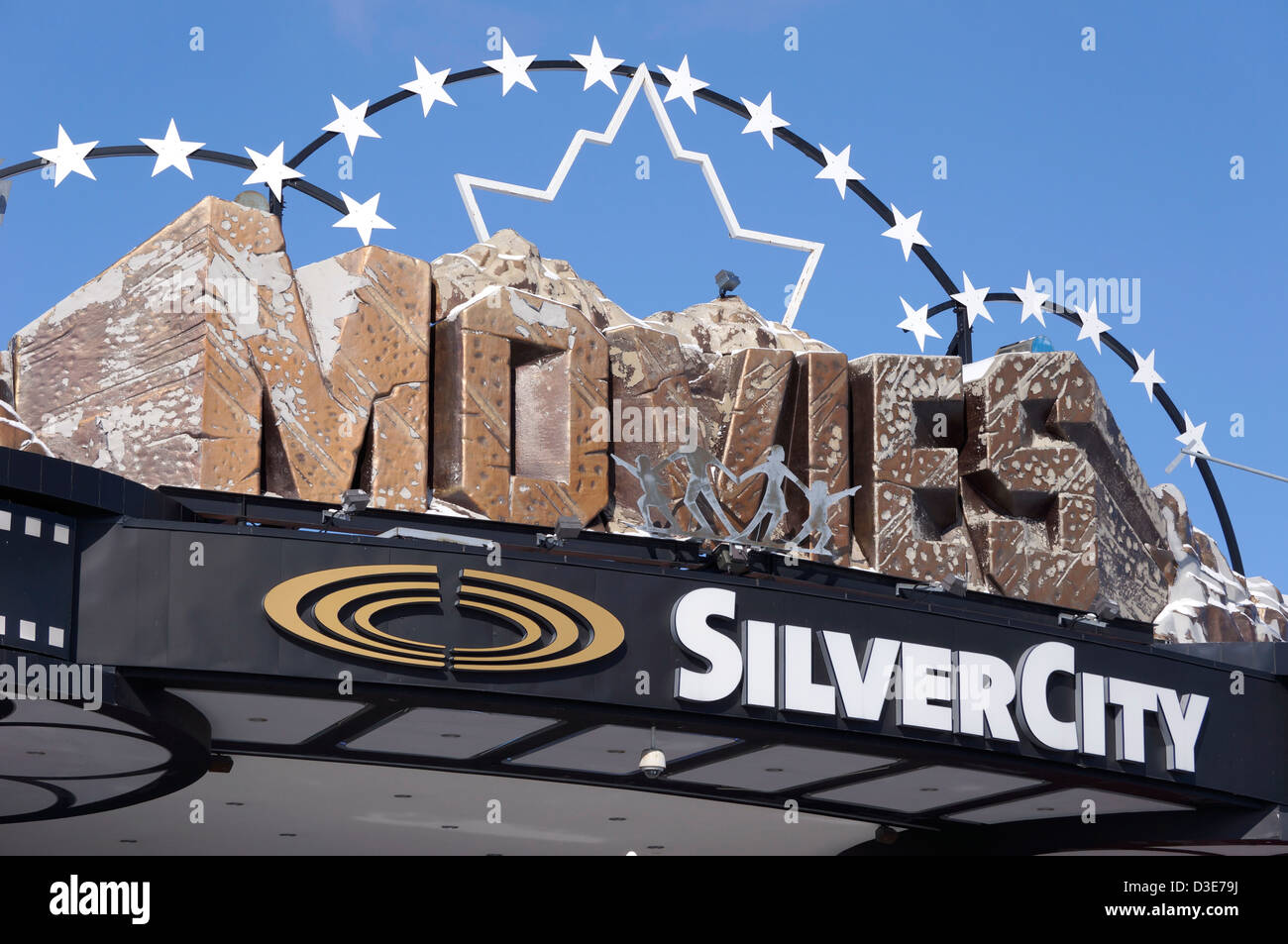 Movies sign, SilverCity Movie Theatre. - Stock Image
