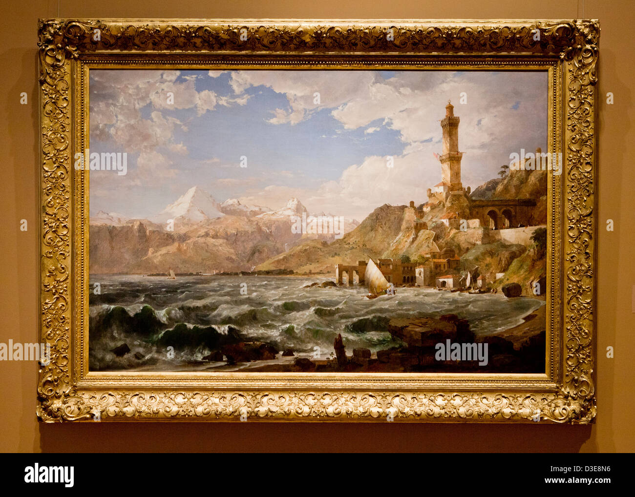 The Coast of Genoa by Jasper Francis Cropsey, 1854 - Stock Image