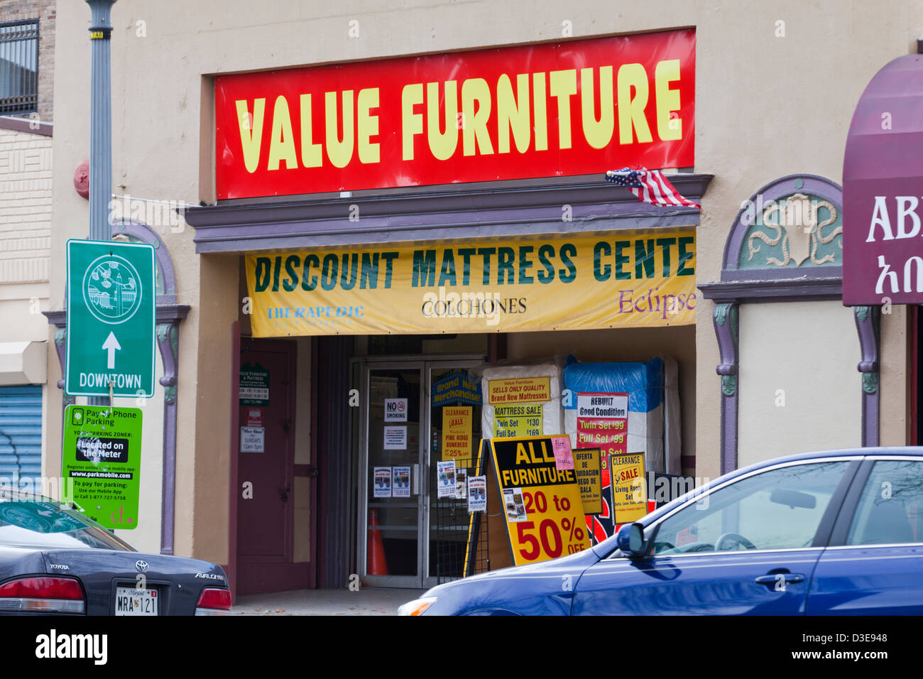 Discount furniture store - Stock Image