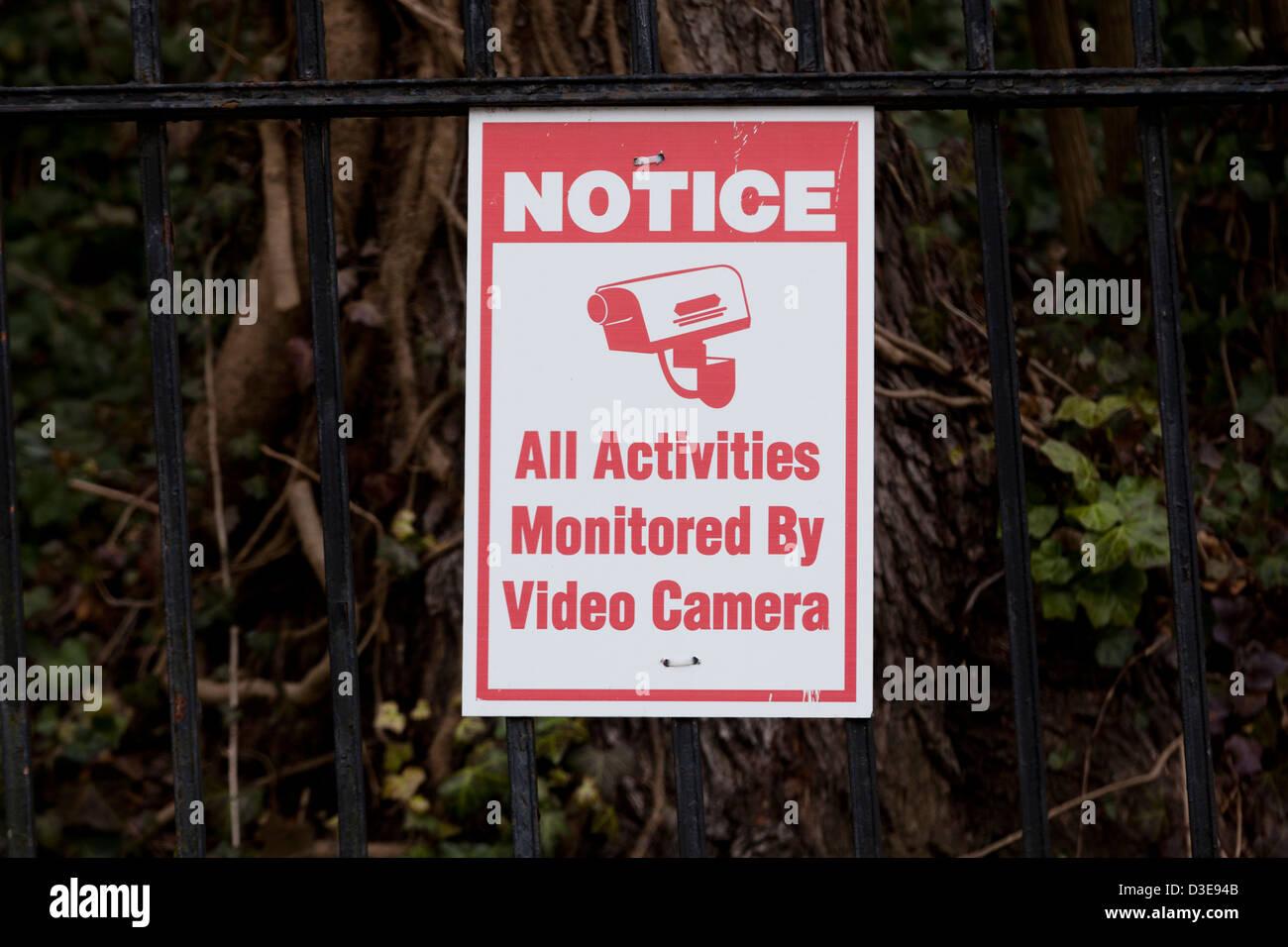 Video surveillance notice - Stock Image