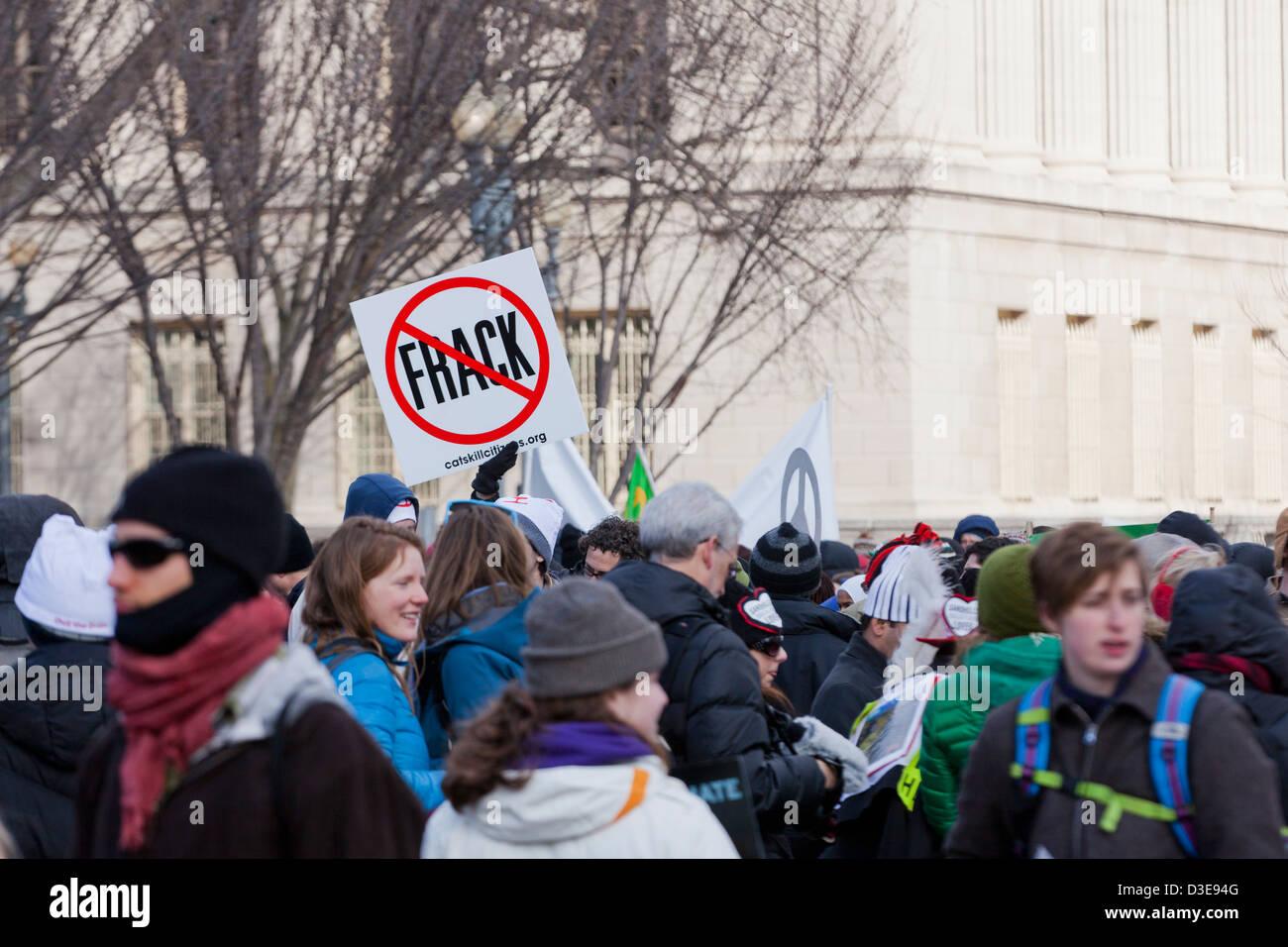 Environmental activists protesting fracking - Stock Image