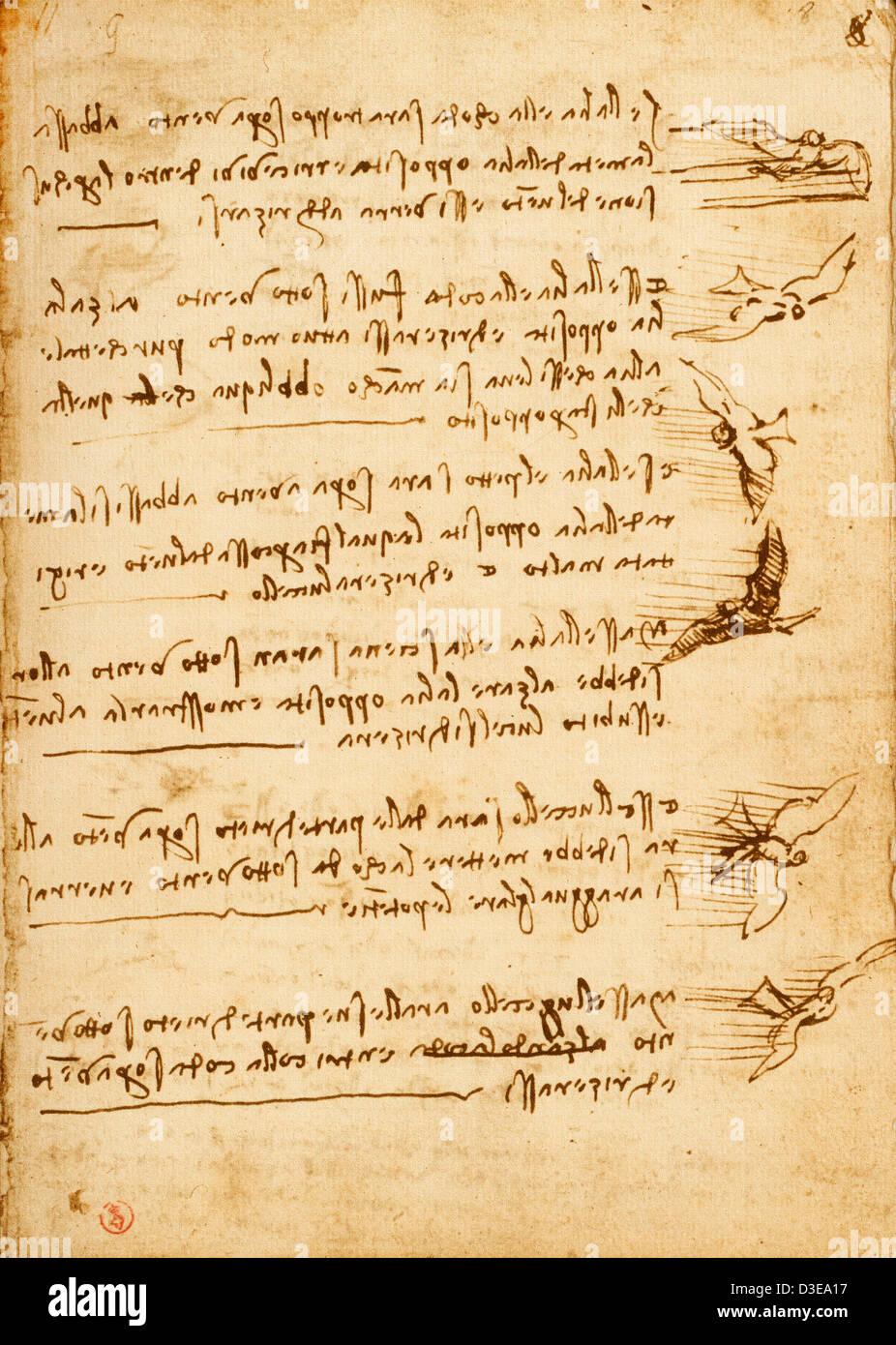 Leonardo da Vinci, Codex Atlanticus. - Stock Image
