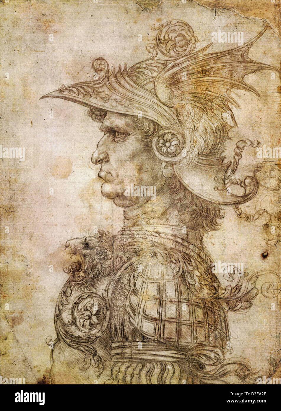 Leonardo da Vinci, Head of a Warrior. 1475–80 Trustees of the British Museum - Stock Image