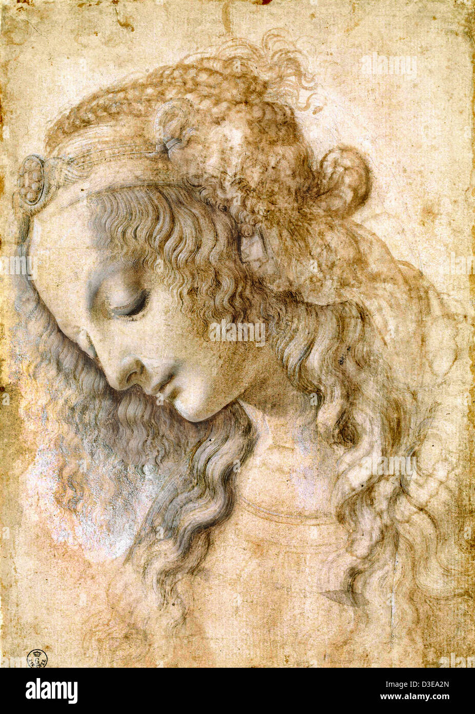 Leonardo da Vinci, Head of a Woman. 1470 Uffizi, Florence - Stock Image