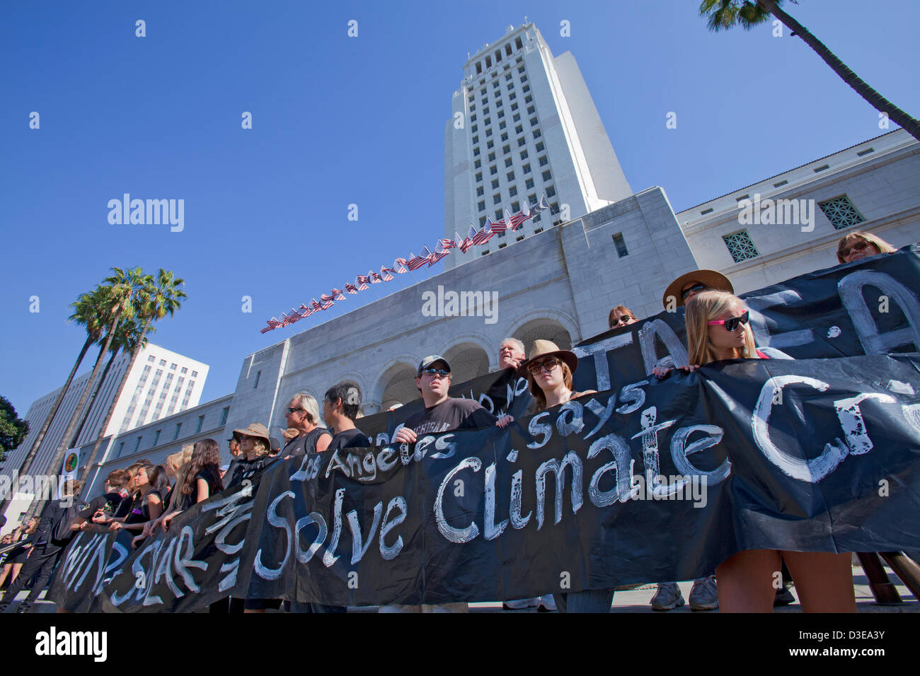 A climate change rally was held in Los Angeles on February 17, 2013 and drew hundreds of people to City Hall steps Stock Photo