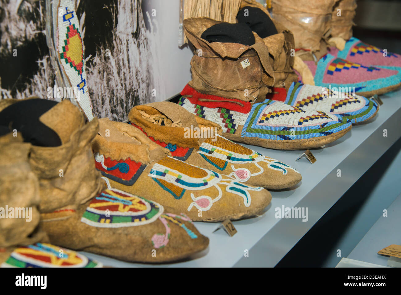 Native Indian footwear on display at the Royal Ontario Museum - Stock Image
