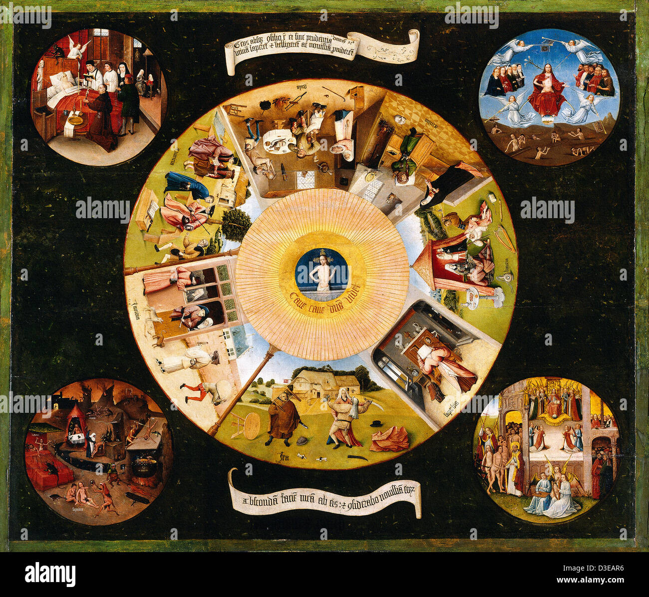 Hieronymus Bosch, The Seven Deadly Sins and the Four Last Things 1500-1525 Oil on wood. Museo del Prado, Madrid, - Stock Image