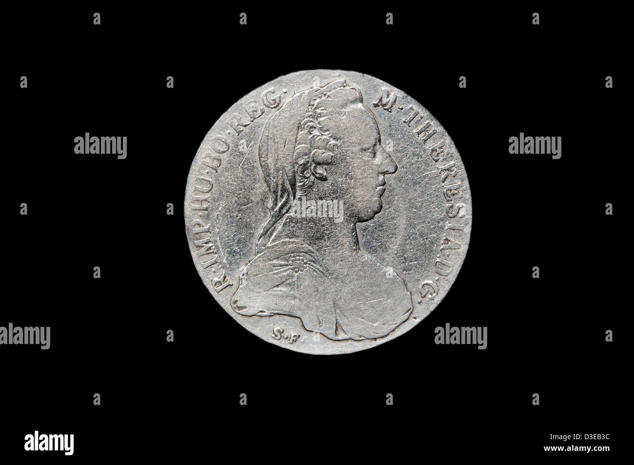 Maria Theresa Thaler, obverse side, year of minting 1780, location Ethiopia - Stock Image