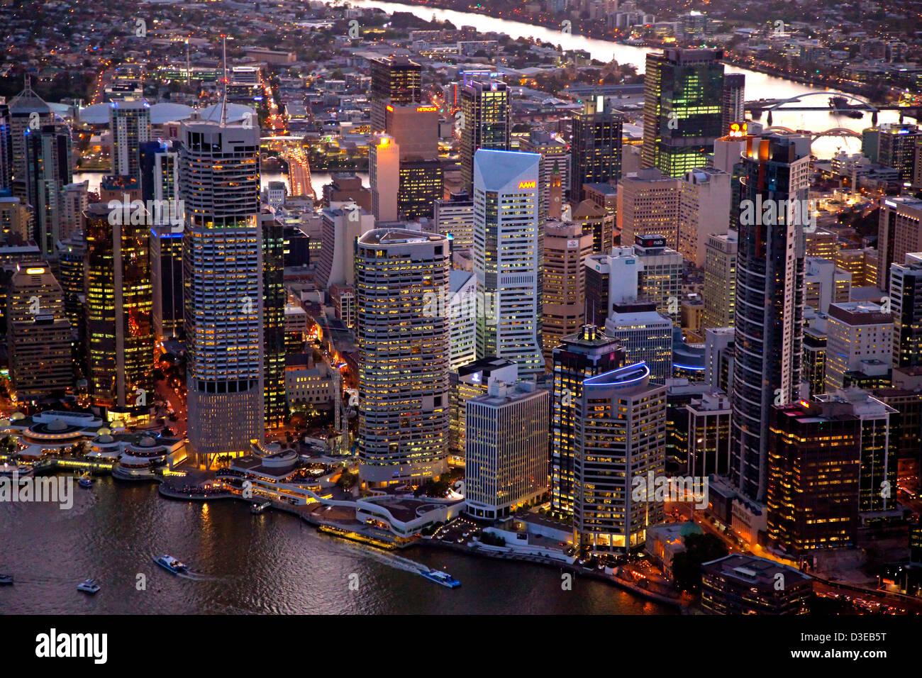 Aerial night view of Brisbane Central Business District - Stock Image