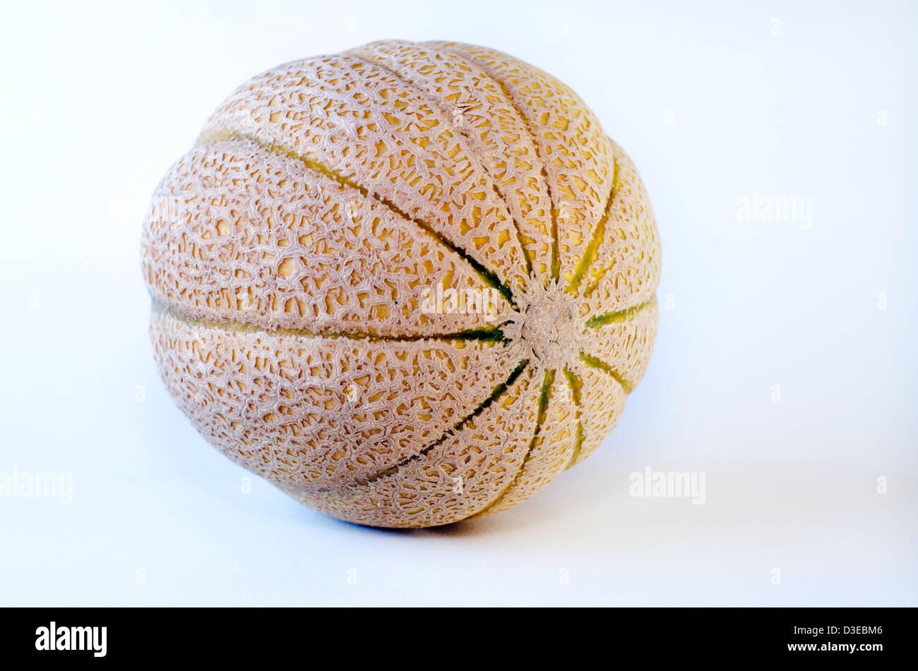 Cantaloupe melon isolated on a white background. - Stock Image