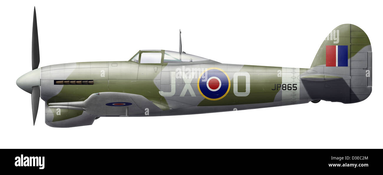 Illustration of a Hawker Typhoon of the Royal Air Force. Stock Photo