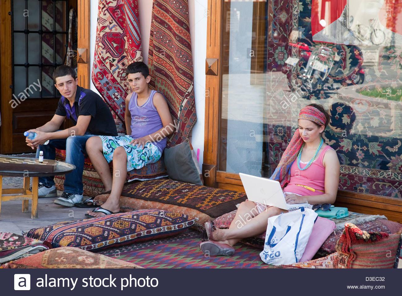 asia,turkey,anatolia,selcuk,carpets shop - Stock Image