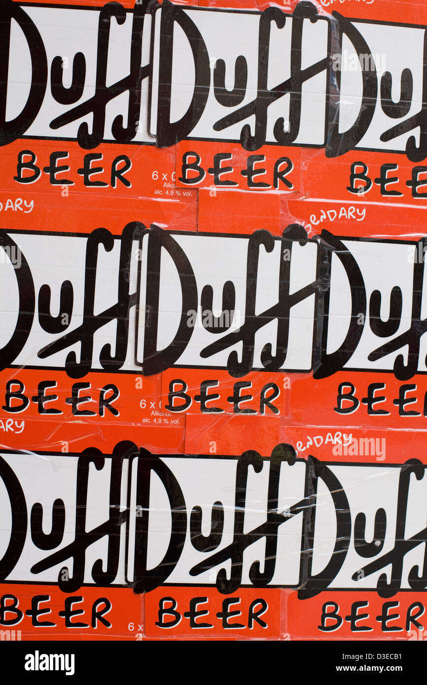 Poster Advertising Duff Beer in Venice Italy - Stock Image