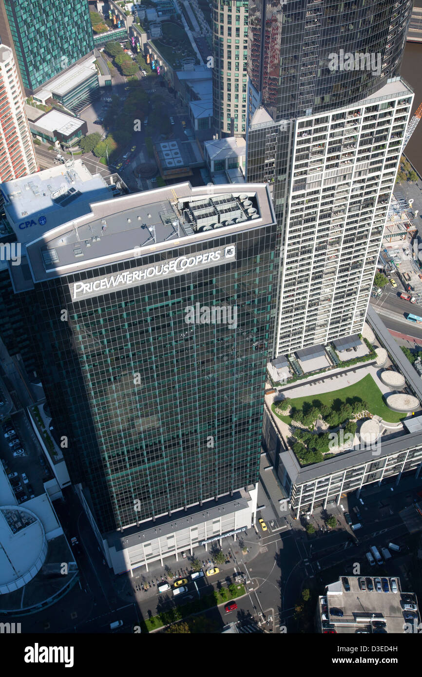 elevated aerial view of Price Waterhouse office building South Bank Melbourne Victoria Australia - Stock Image