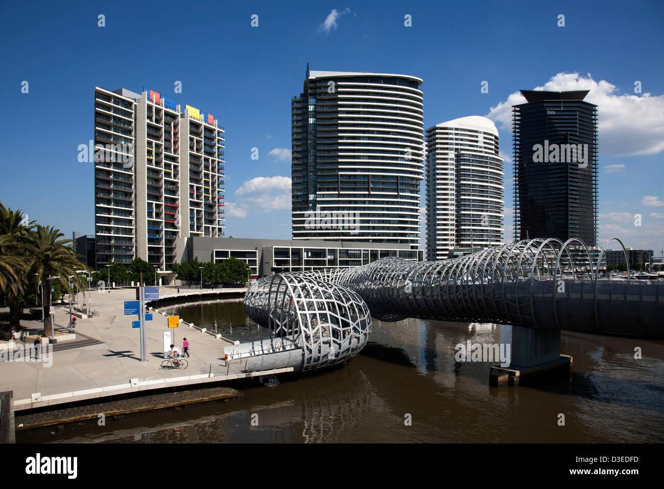 Pedestrian and cycleway Webb Bridge at Victoria Harbour Docklands Melbourne Victoria Australia - Stock Image