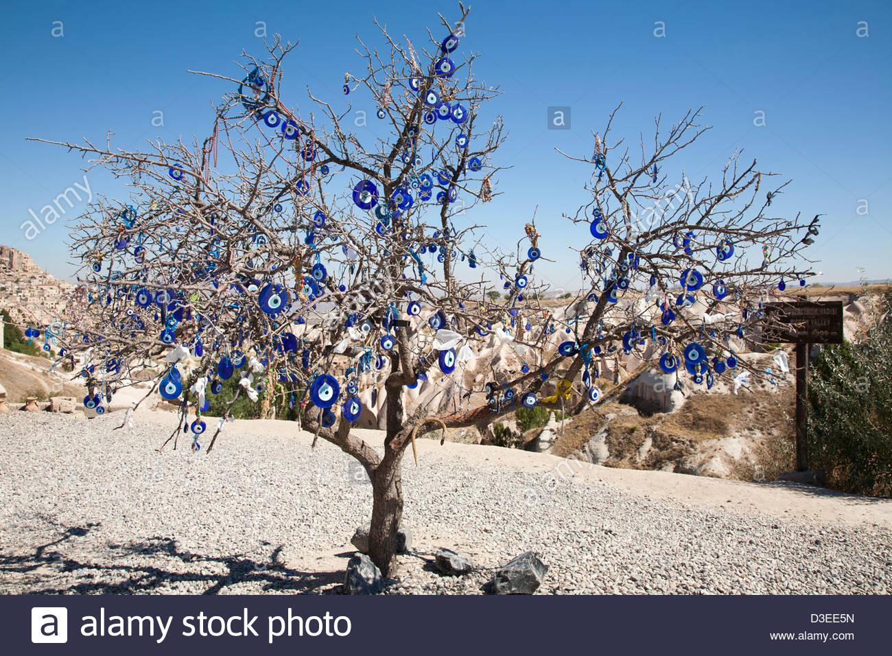 decorated tree,and landscape with uchisar village,cappadocia,anatolia,turkey,asia - Stock Image