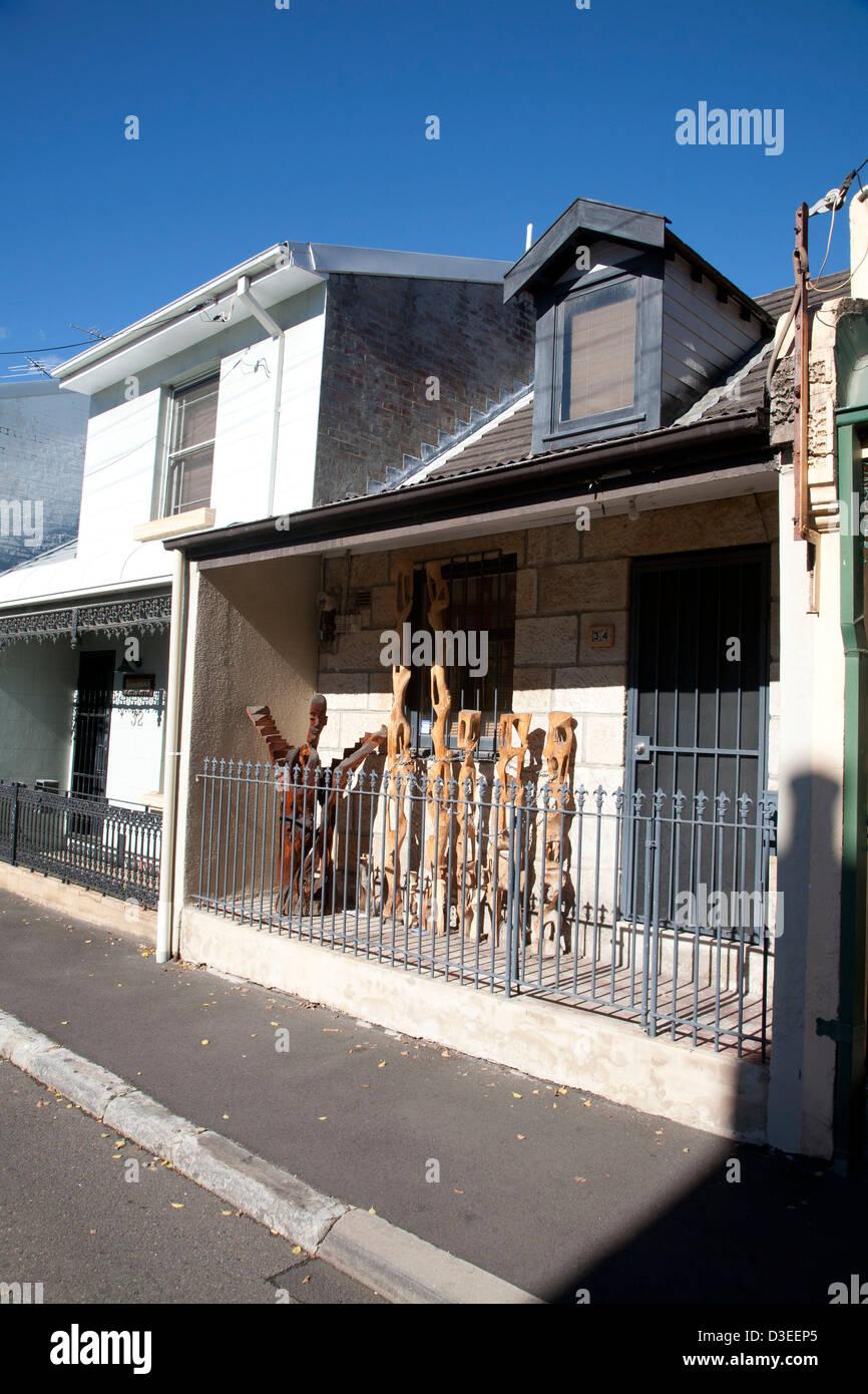 Artwork on Terrace house in Glebe near Broadway Sydney Australia - Stock Image