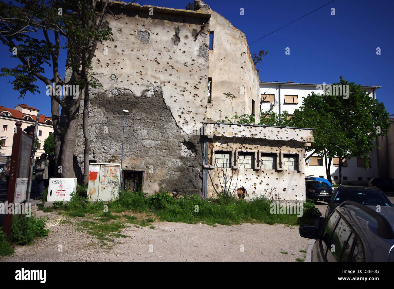 Mostar in Bosnia and Herzegovina. Traces of war. Signs of violence - Stock Image