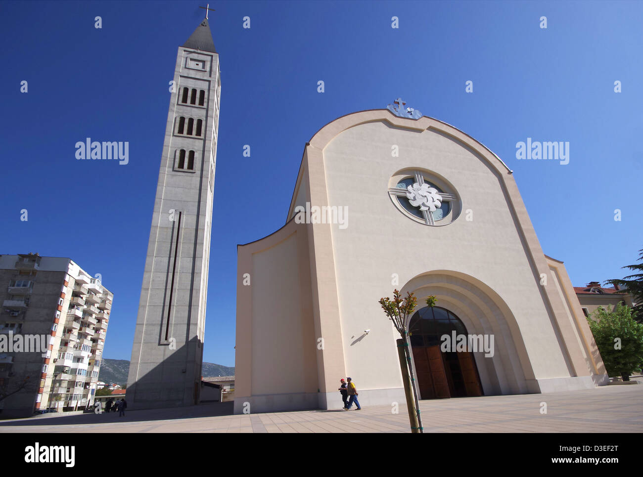 Franevachka church. Catholic congregation. Mostar in Bosnia and Herzegovina. - Stock Image