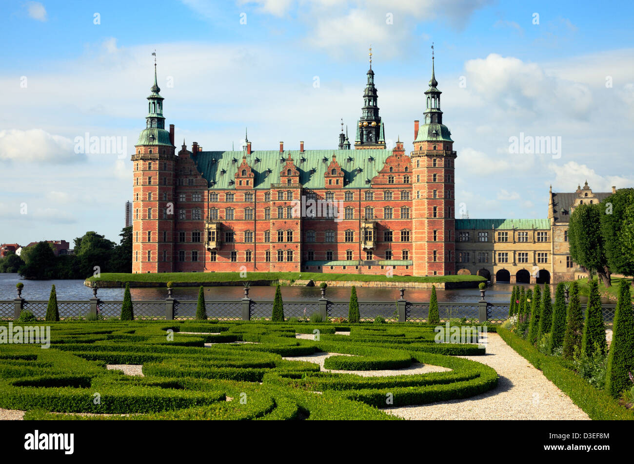 The Frederiksborg Castle in Dutch Renaissance style and the baroque garden in Hillerød near Copenhagen, Denmark. Stock Photo