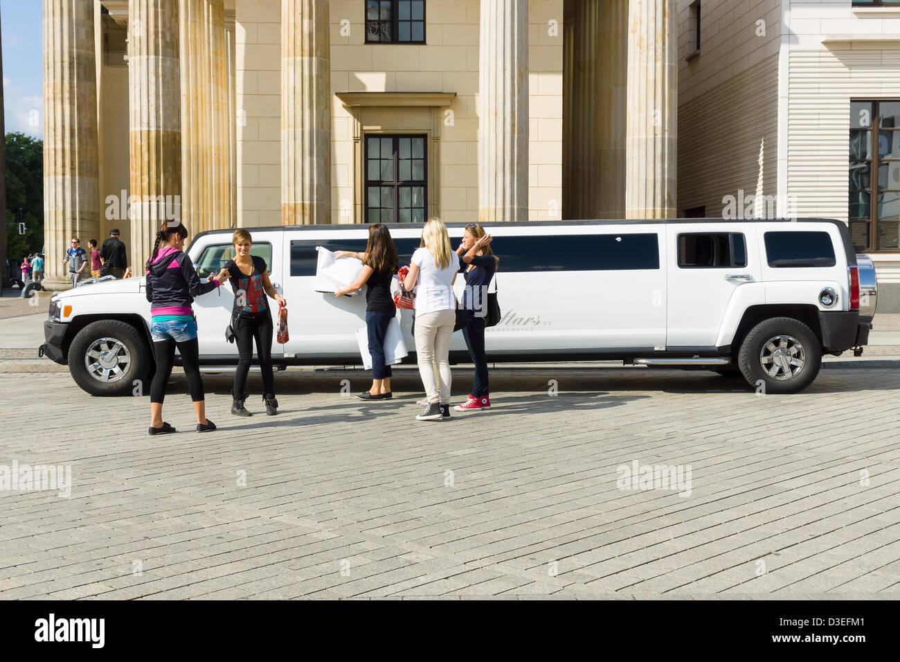 Hummer car near the Brandenburg Gate. Stock Photo