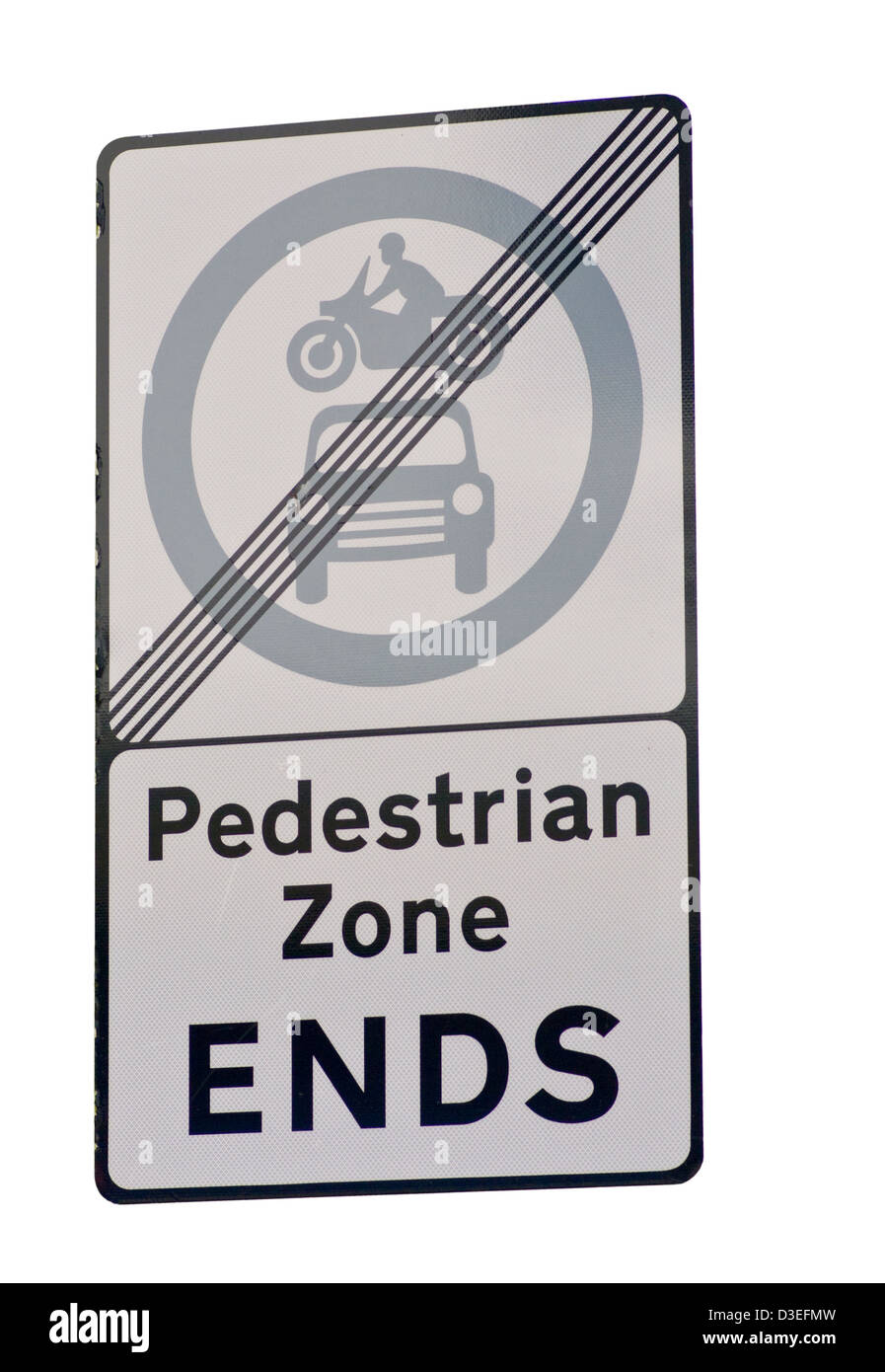 Pedestrian Zone Ends Road Sign England - Stock Image