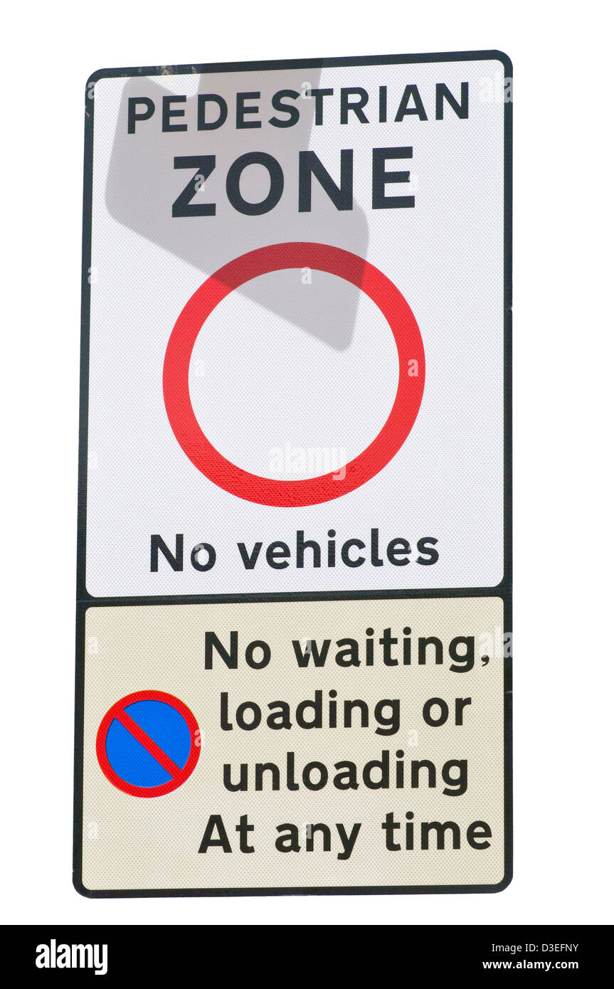 Pedestrian Zone No Vehicles Road Sign England - Stock Image